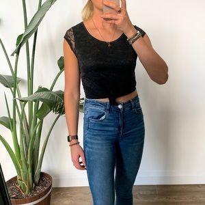 H&M Black Lace Crop T-Shirt Size 6